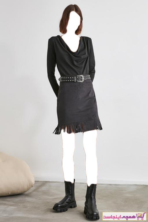 دامن زنانه مدل دار برند ترندیول میلا ترک رنگ مشکی کد ty52918566
