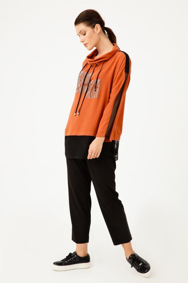 تونیک زنانه شیک جدید برند Moda İlgi رنگ قهوه ای کد ty54596224