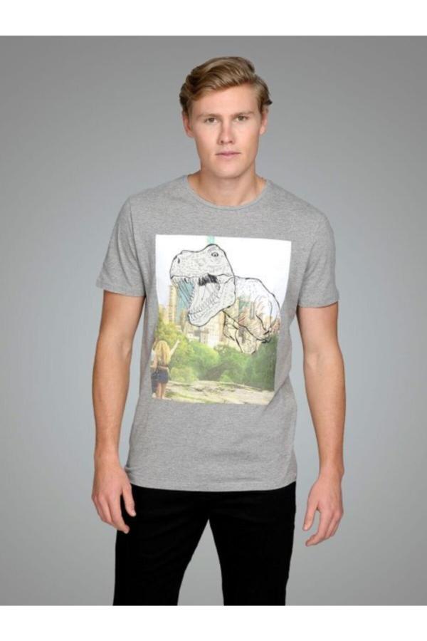 خرید تی شرت مردانه شیک مجلسی برند Jack Jones رنگ نقره ای کد ty54653623