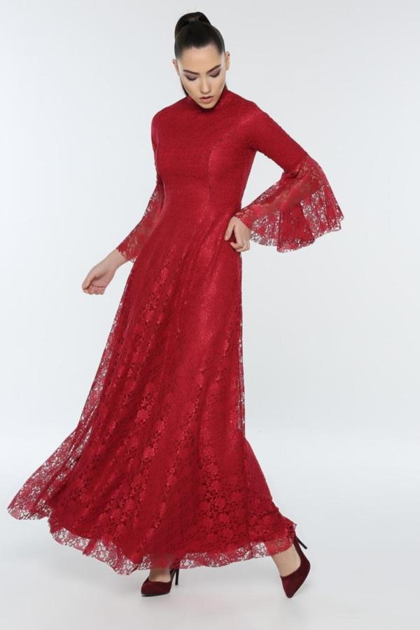 سفارش نقدی لباس مجلسی ارزان برند FİLELİ رنگ زرشکی ty54672209