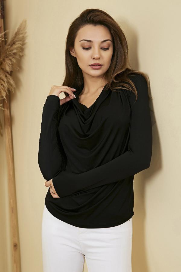 بلوز جدید زنانه شیک برند Sateen رنگ مشکی کد ty54712103