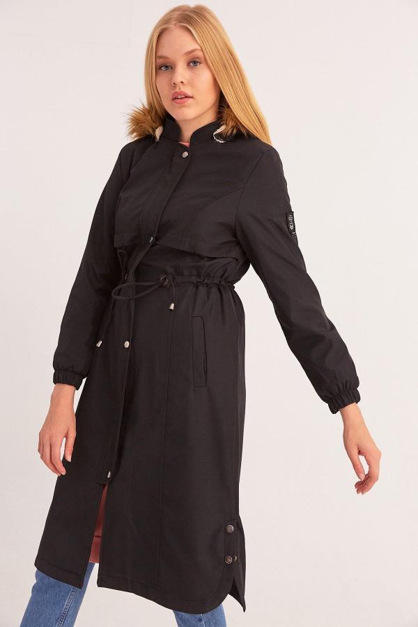 خرید پستی پالتو زنانه پارچه نخی برند Fulla Moda رنگ مشکی کد ty54778118
