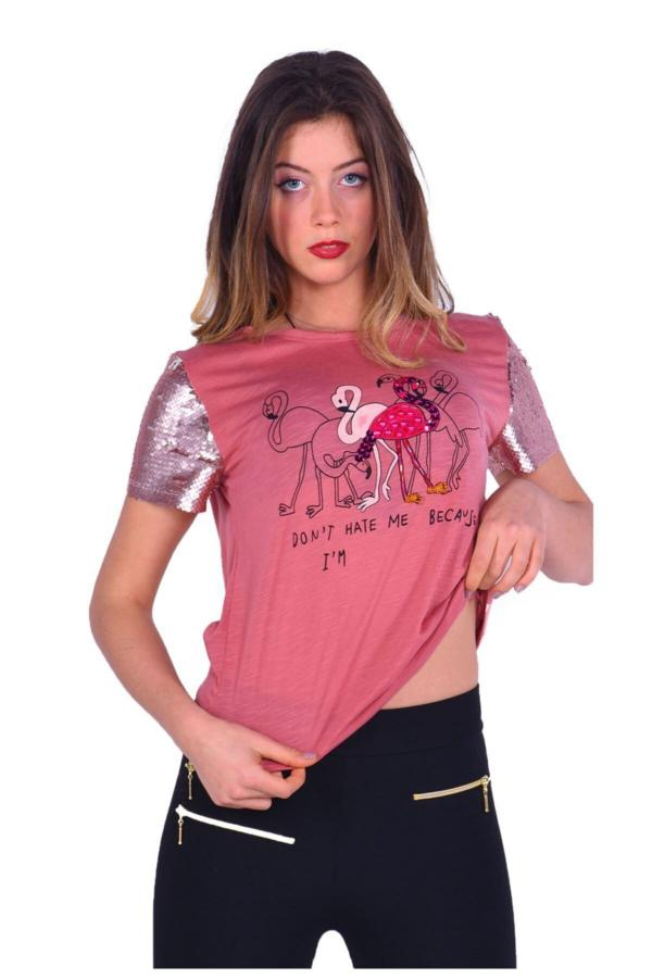 خرید پستی تیشرت شیک زنانه برند FİLELİ رنگ صورتی ty54799826