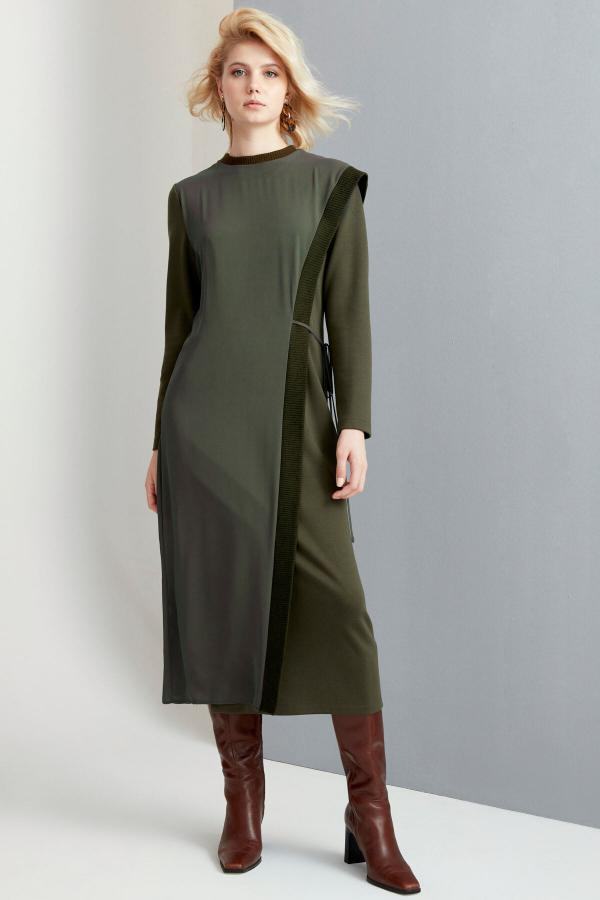 پیراهن زنانه شیک برند FEVER رنگ خاکی کد ty54814395