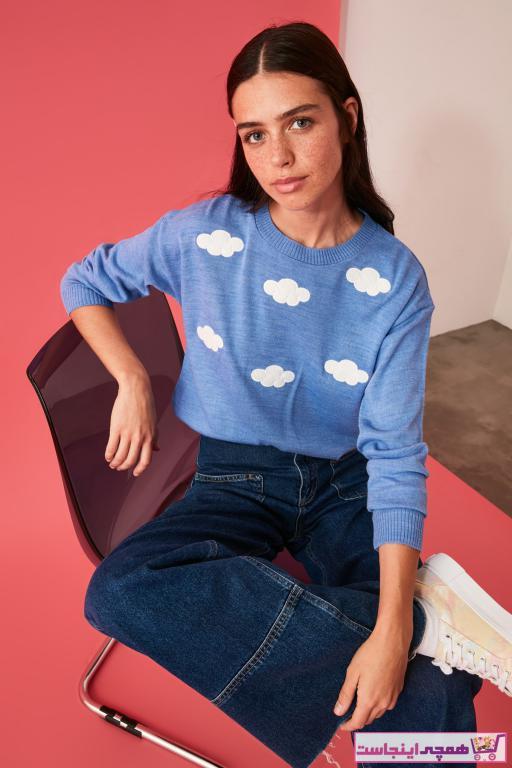 پلیور زنانه مارک ترندیول میلا رنگ آبی کد ty54864919