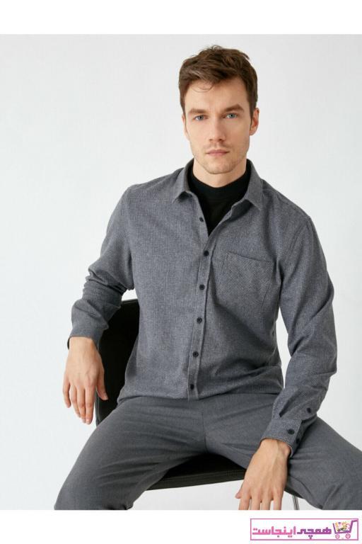 پیراهن مردانه پارچه نخی برند کوتون رنگ نقره ای کد ty55052855