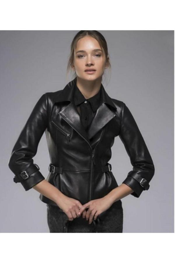 کاپشن چرم دخترانه سال ۹۹ برند Tannery Leather رنگ مشکی کد ty55574698