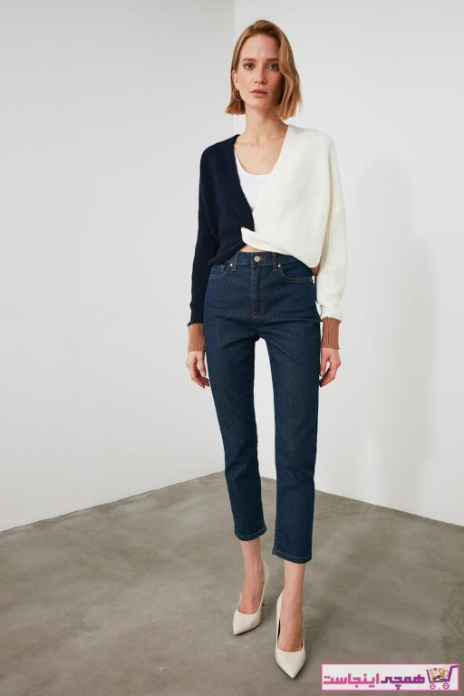 خرید انلاین شلوار جین زیبا زنانه مارک ترندیول میلا رنگ لاجوردی کد ty55827023