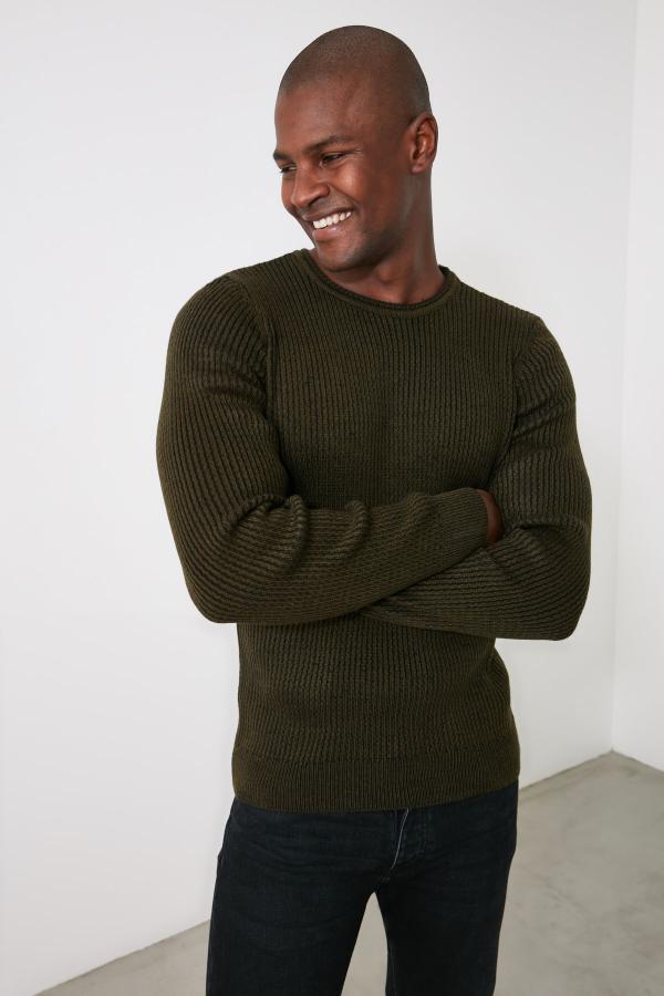 پلیور بافتی زیبا مردانه مارک ترندیول مرد رنگ خاکی کد ty56501900