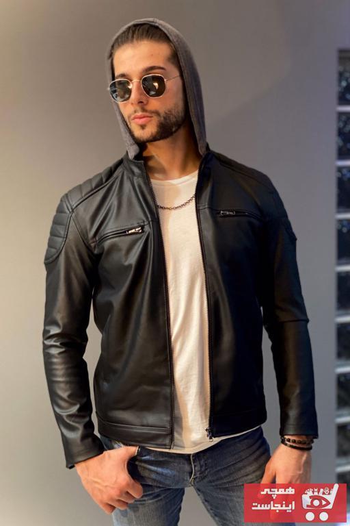 خرید انلاین ژاکت چرم مردانه طرح دار برند Jaglion رنگ مشکی کد ty57402561