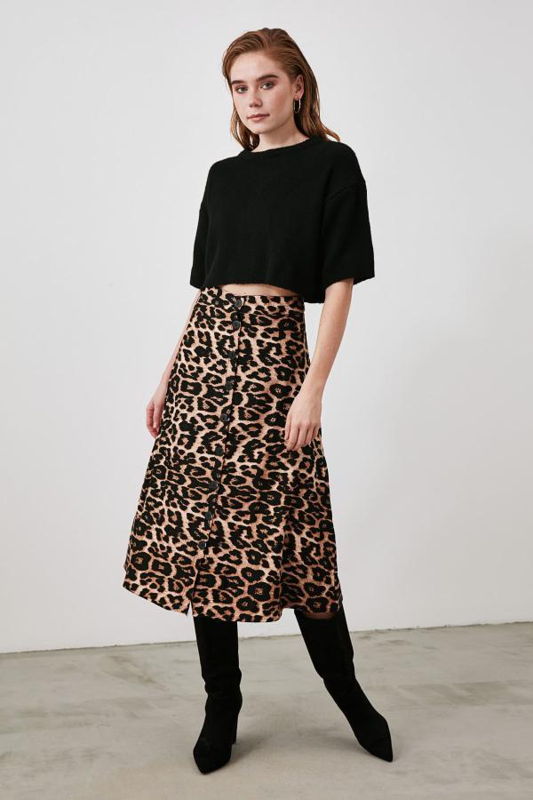 دامن شیک زنانه برند TRENDYOLMİLLA رنگ قهوه ای کد ty62223989
