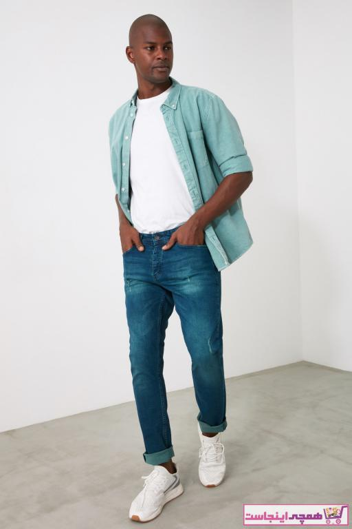 شلوار جین بلند مارک ترندیول مرد رنگ لاجوردی کد ty62249885