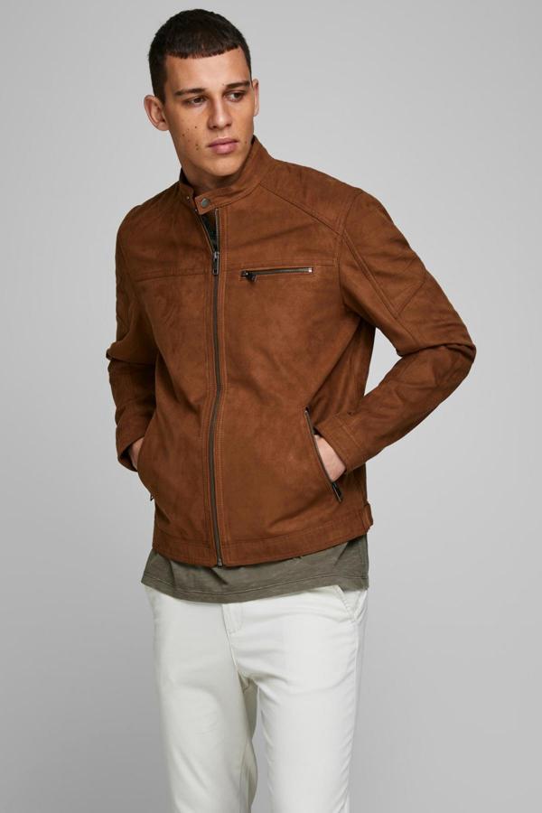 مدل ژاکت چرم مردانه برند Jack Jones رنگ قهوه ای کد ty6373099