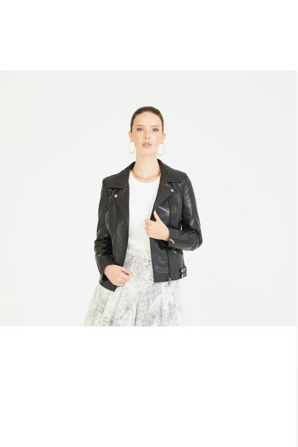 خرید انلاین کاپشن چرم زنانه طرح دار برند Deri Company رنگ مشکی کد ty7090017