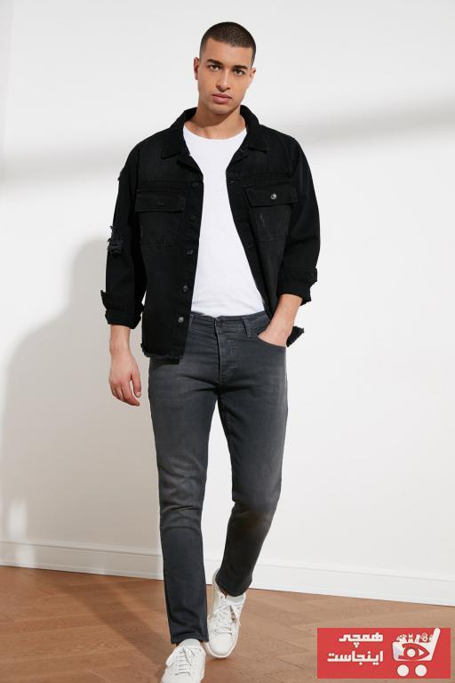 شلوار جین بلند برند ترندیول مرد رنگ نقره ای کد ty77531797