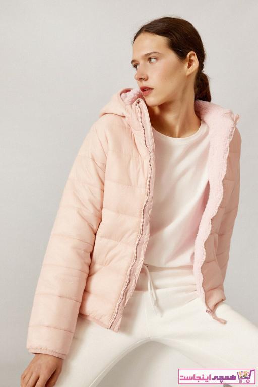 کاپشن زنانه مدل دار برند کوتون رنگ صورتی ty83185454
