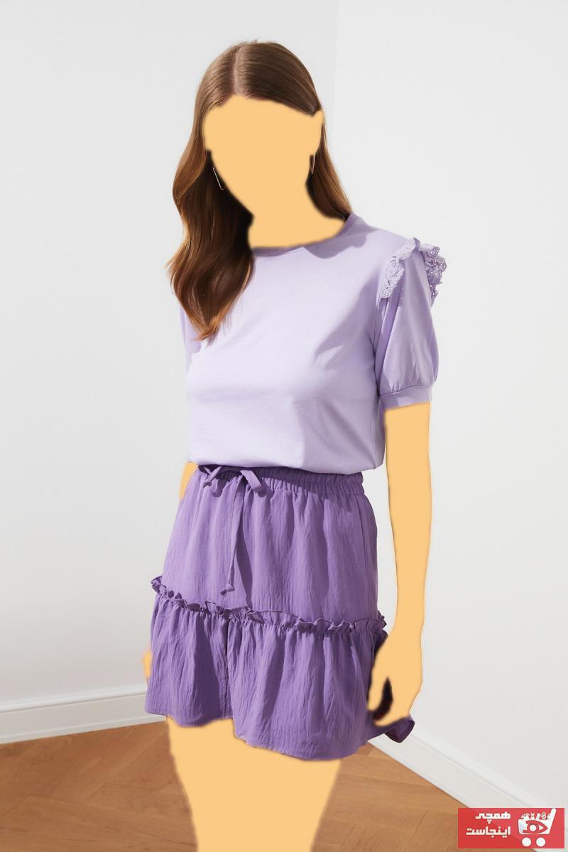 تیشرت زیبا زنانه برند ترندیول میلا رنگ بنفش کد ty86631161