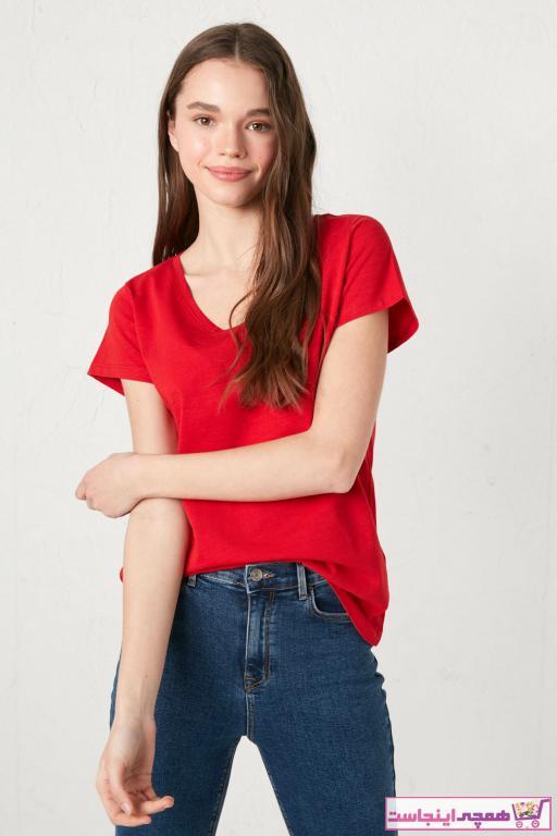 تیشرت زنانه نخی برند ال سی وایکیکی رنگ قرمز ty87076952