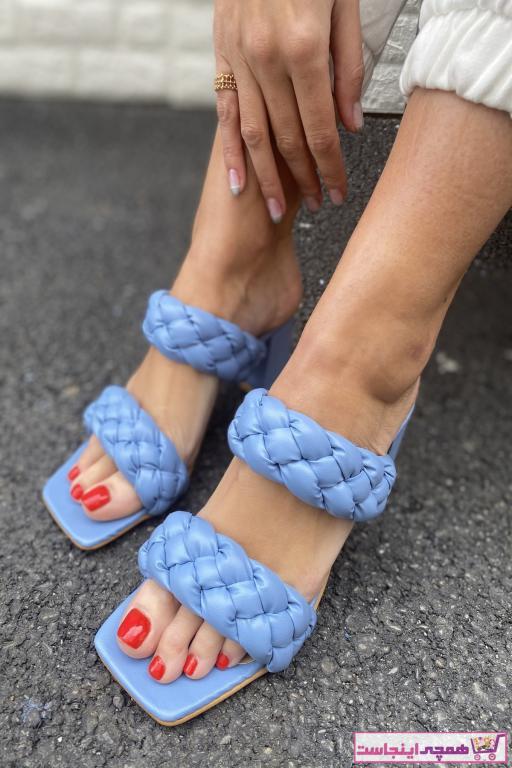 پاشنه دار زنانه ساده برند İnan Ayakkabı رنگ آبی کد ty87505618