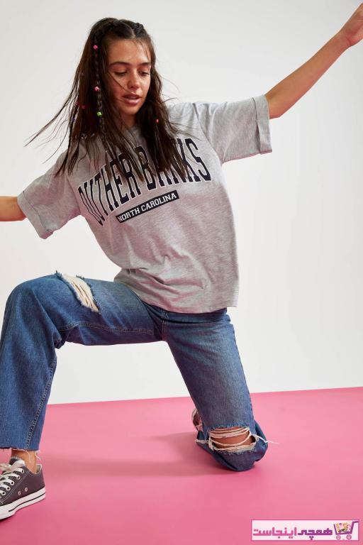 قیمت تیشرت زنانه برند دفاکتو رنگ نقره ای کد ty87576555