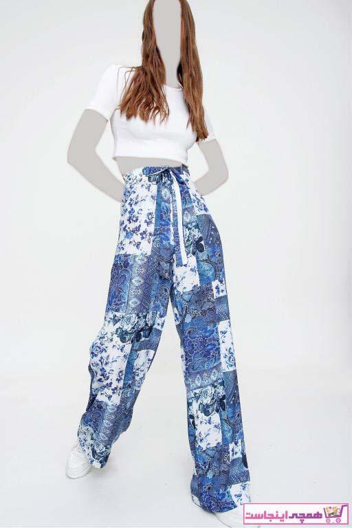 شلوار زنانه مدل دار برند Trend Alaçatı Stili رنگ آبی کد ty89253231