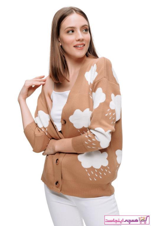 ژاکت بافتی زیبا زنانه برند butikburuç رنگ قهوه ای کد ty90081891