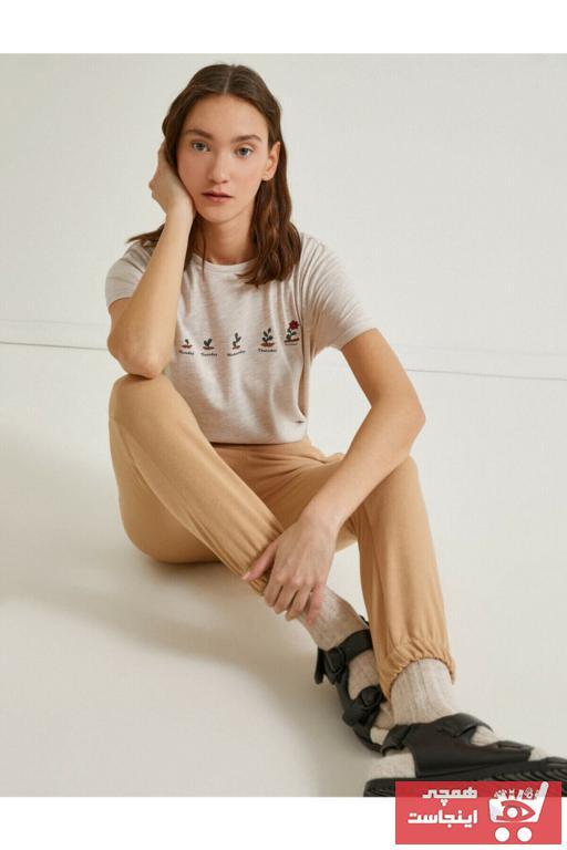 تیشرت زنانه طرح دار برند کوتون رنگ بژ کد ty90344512