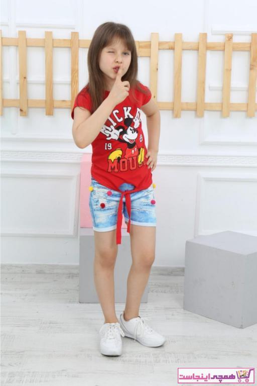 سفارش ست لباس بهاری دخترانه برند MICKEY رنگ قرمز ty96802098