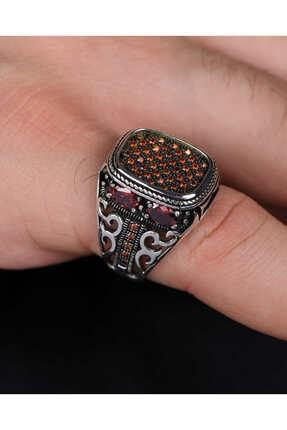 خرید انلاین انگشتر مردانه طرح دار Prestige Gümüş رنگ قرمز ty123458721
