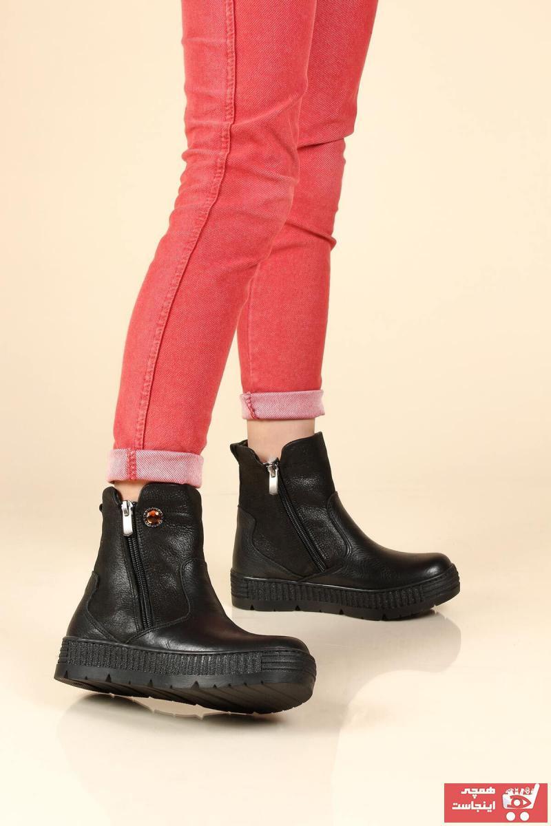 بوت ارزان بچه گانه دخترانه برند FAST STEP رنگ مشکی کد ty31830437