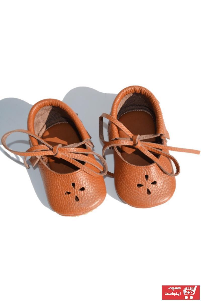 کفش تخت خاص نوزاد دختر برند Ayax رنگ قهوه ای کد ty34338065