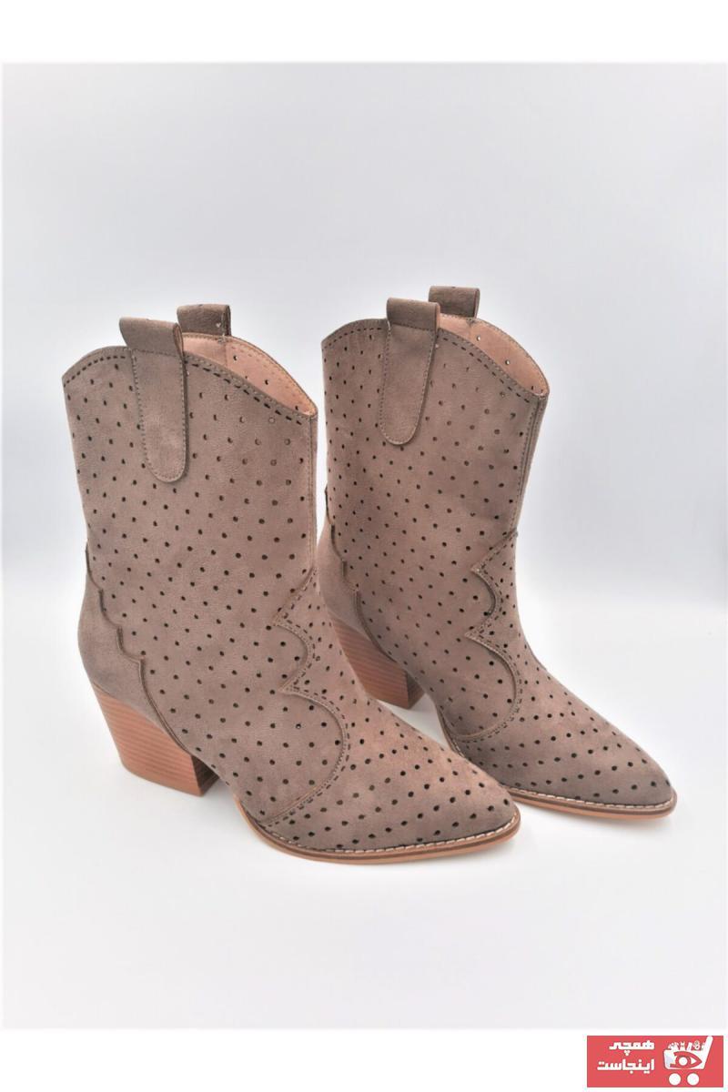 چکمه زنانه اینترنتی برند TEOS Ayakkabı رنگ قهوه ای کد ty103714292