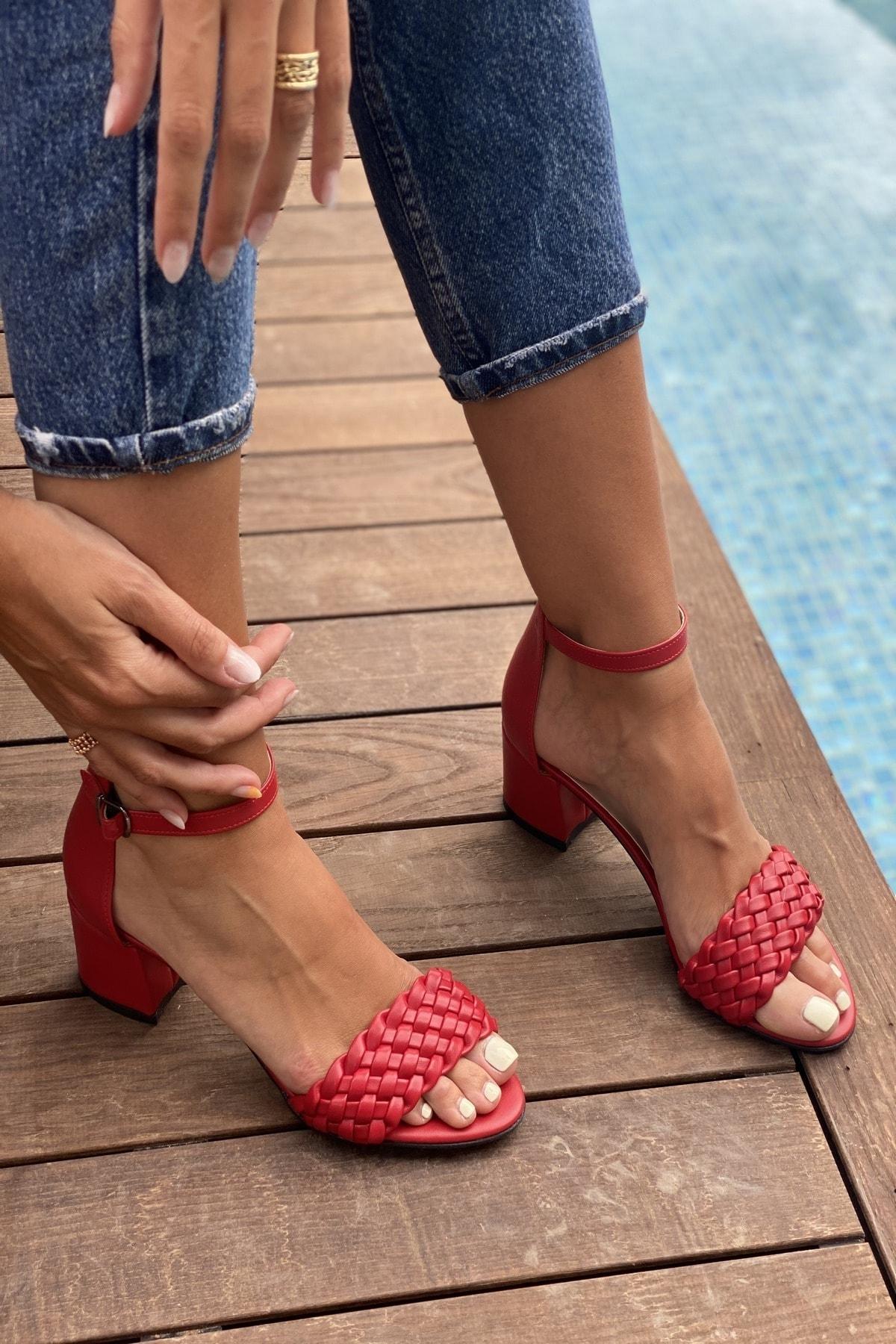 پاشنه بلند مدل 2021 برند İnan Ayakkabı رنگ قرمز ty110682484