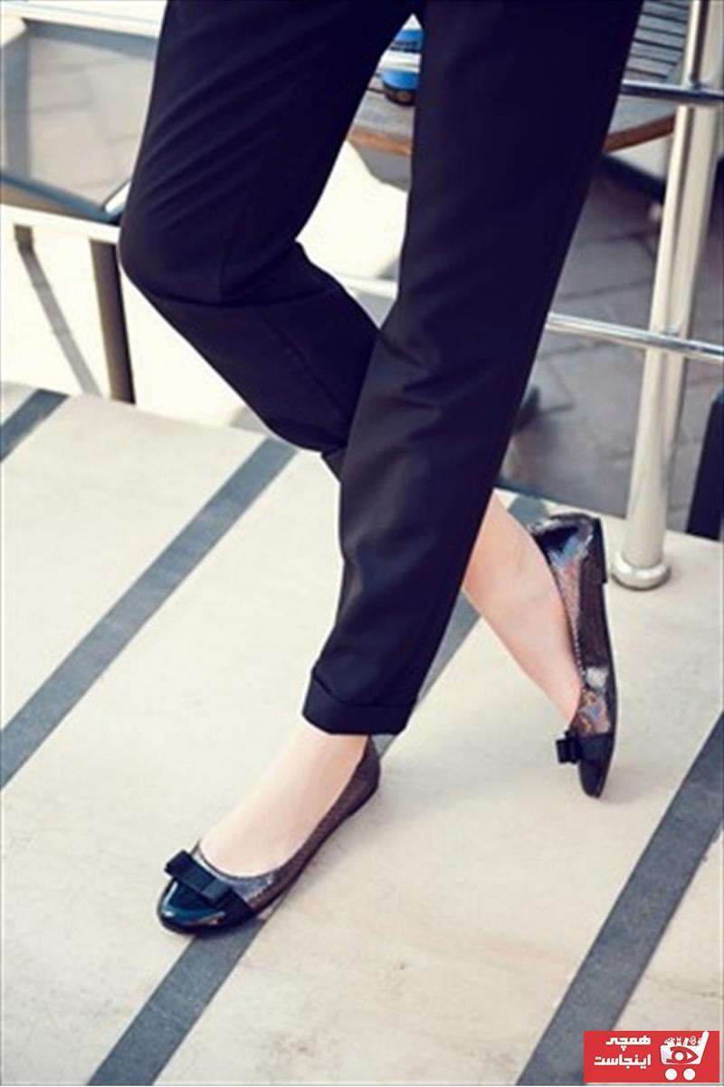 خرید کفش بابت زنانه ترک جدید برند Fox Shoes رنگ متالیک کد ty55415