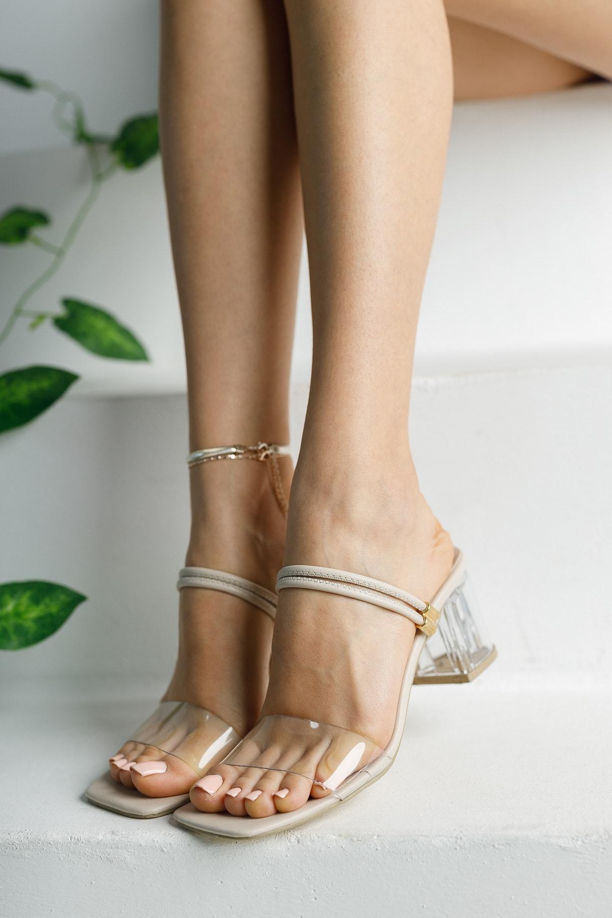 پاشنه بلند زنانه ترک جدید برند meyranın ayakkabıları رنگ بژ کد ty99096307