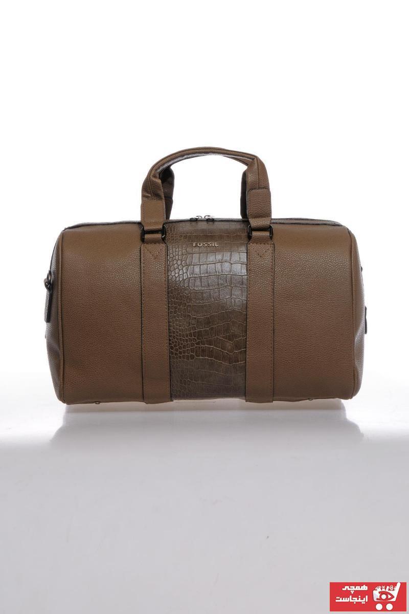 سفارش کیف ورزشی مردانه ارزان برند Fossil رنگ قهوه ای کد ty73757292
