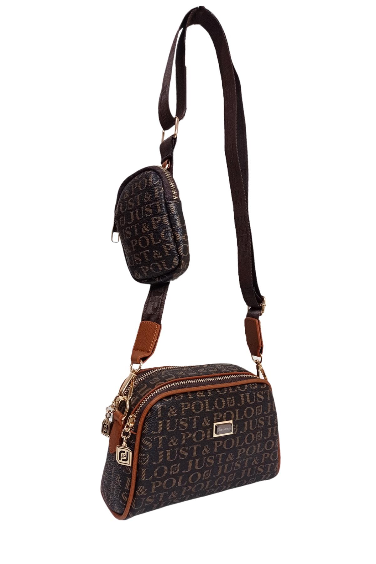 فروش پستی ست کیف رودوشی زنانه برند Just Polo رنگ قهوه ای کد ty118039031