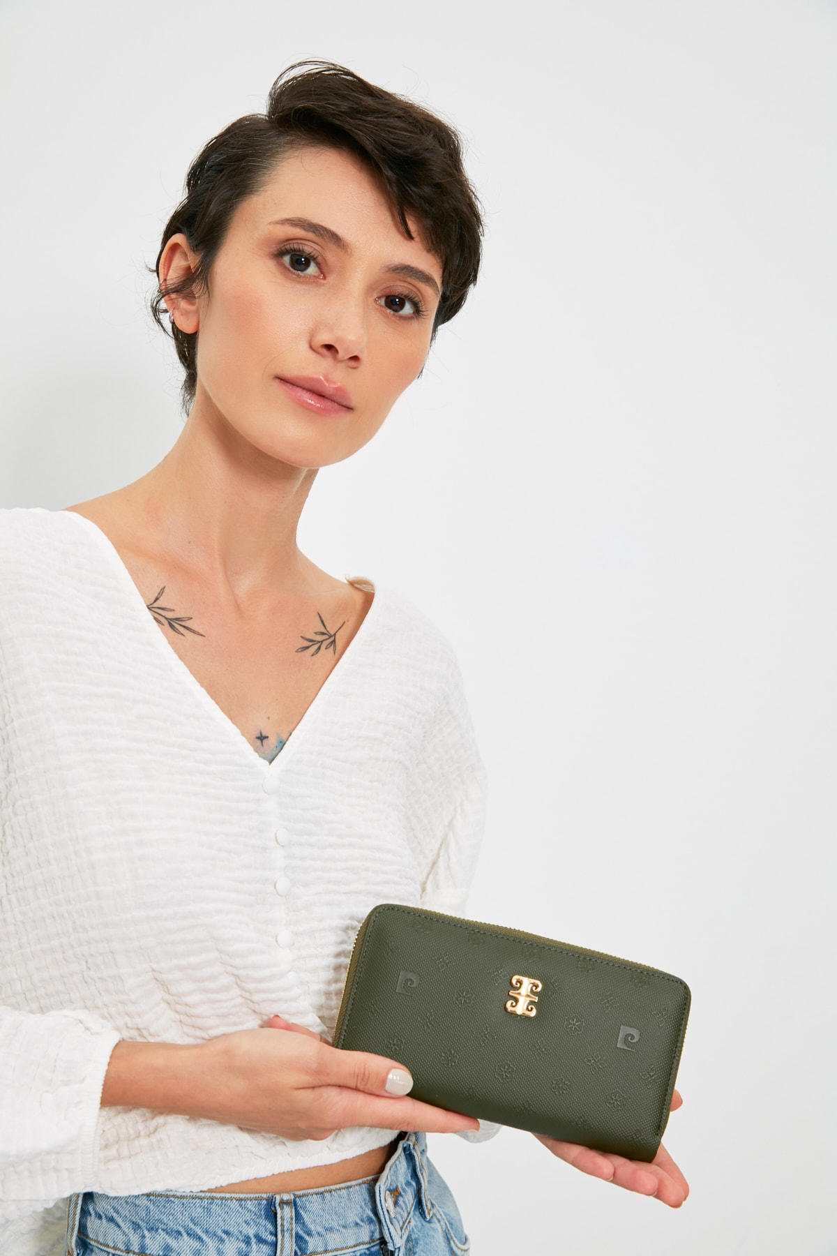 مدل کیف پول زنانه برند پیرکاردن رنگ سبز کد Print ty121953021