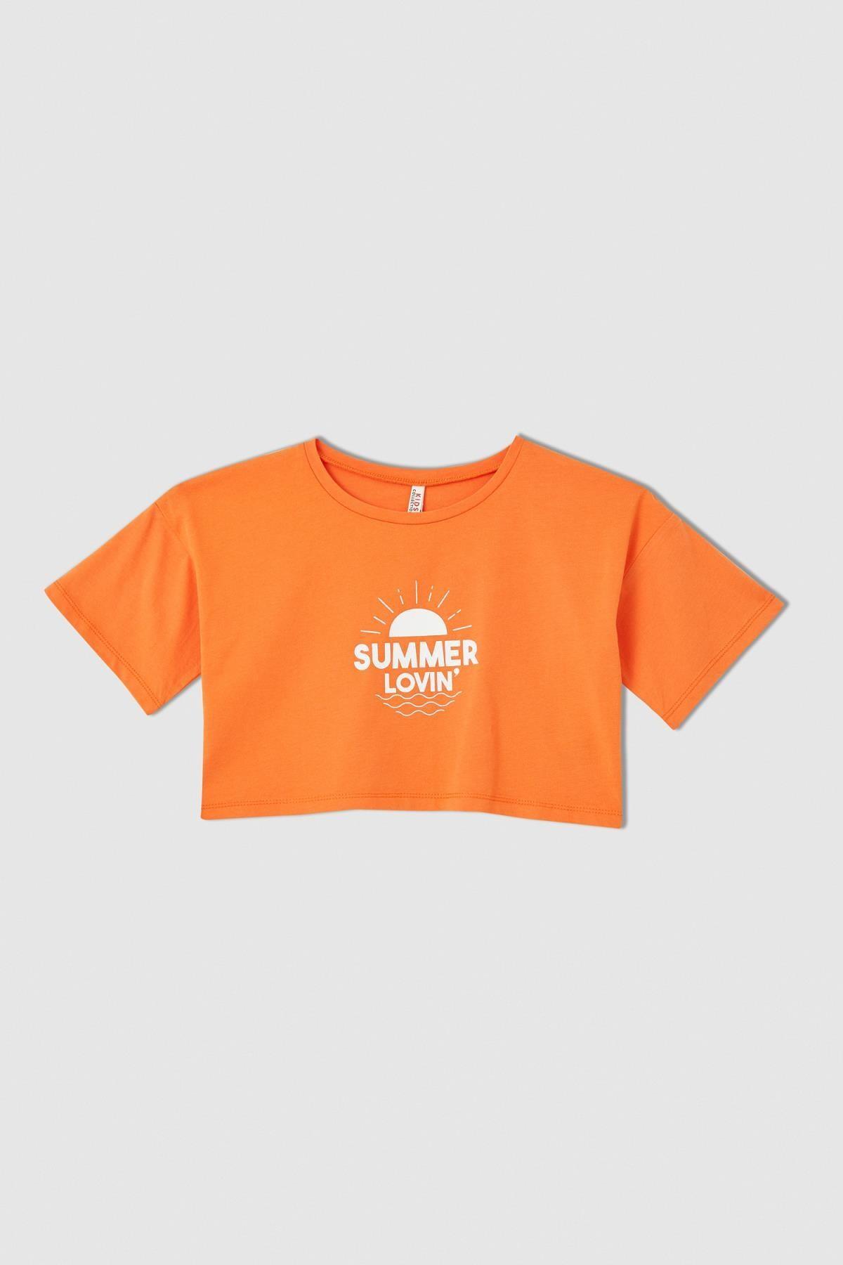 تیشرت دخترانه مدل دار برند دفاکتو ترکیه رنگ نارنجی کد ty113282735