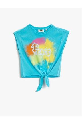 تیشرت جدید دخترانه شیک برند کوتون رنگ فیروزه ای ty119270213