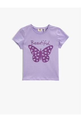 تیشرت دخترانه کوتاه برند کوتون رنگ بنفش کد ty120173248