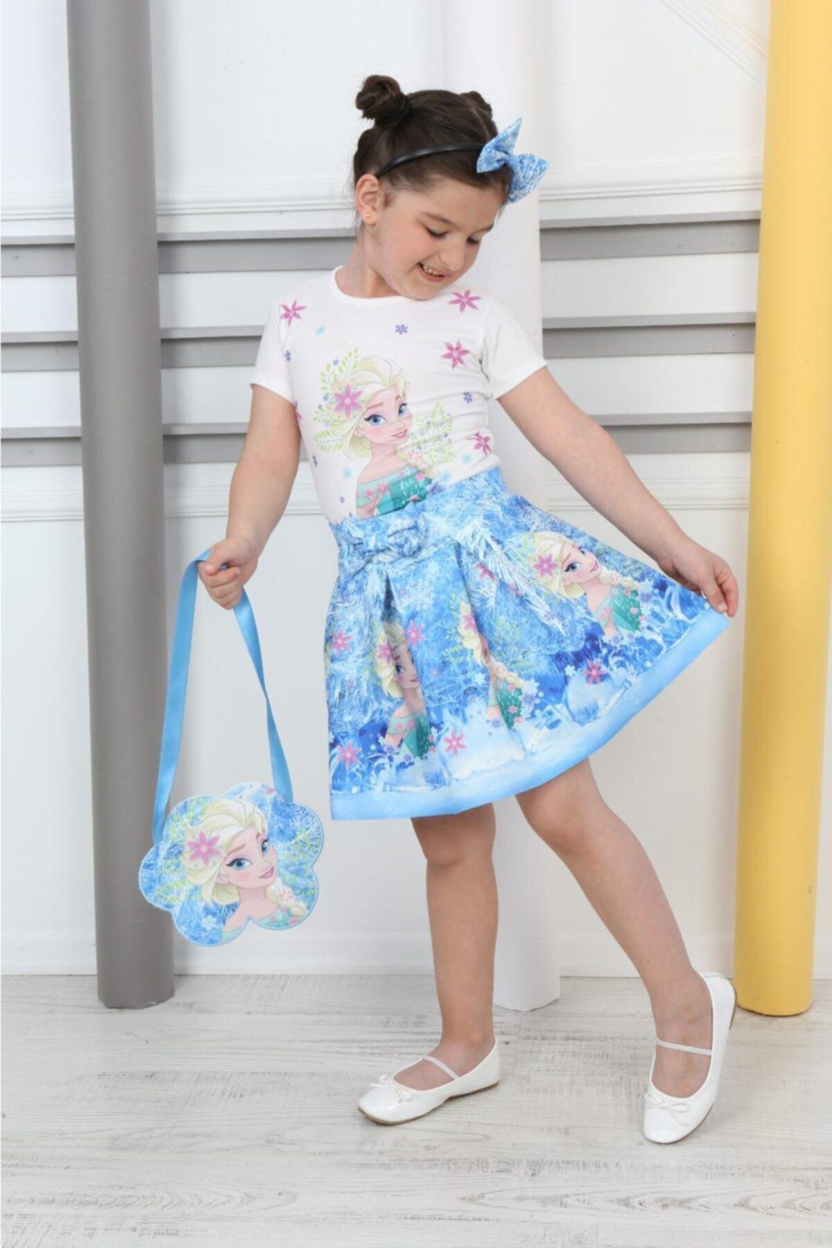 ست لباس دخترانه ترک برند Canti Çocuk رنگ آبی کد ty120838105