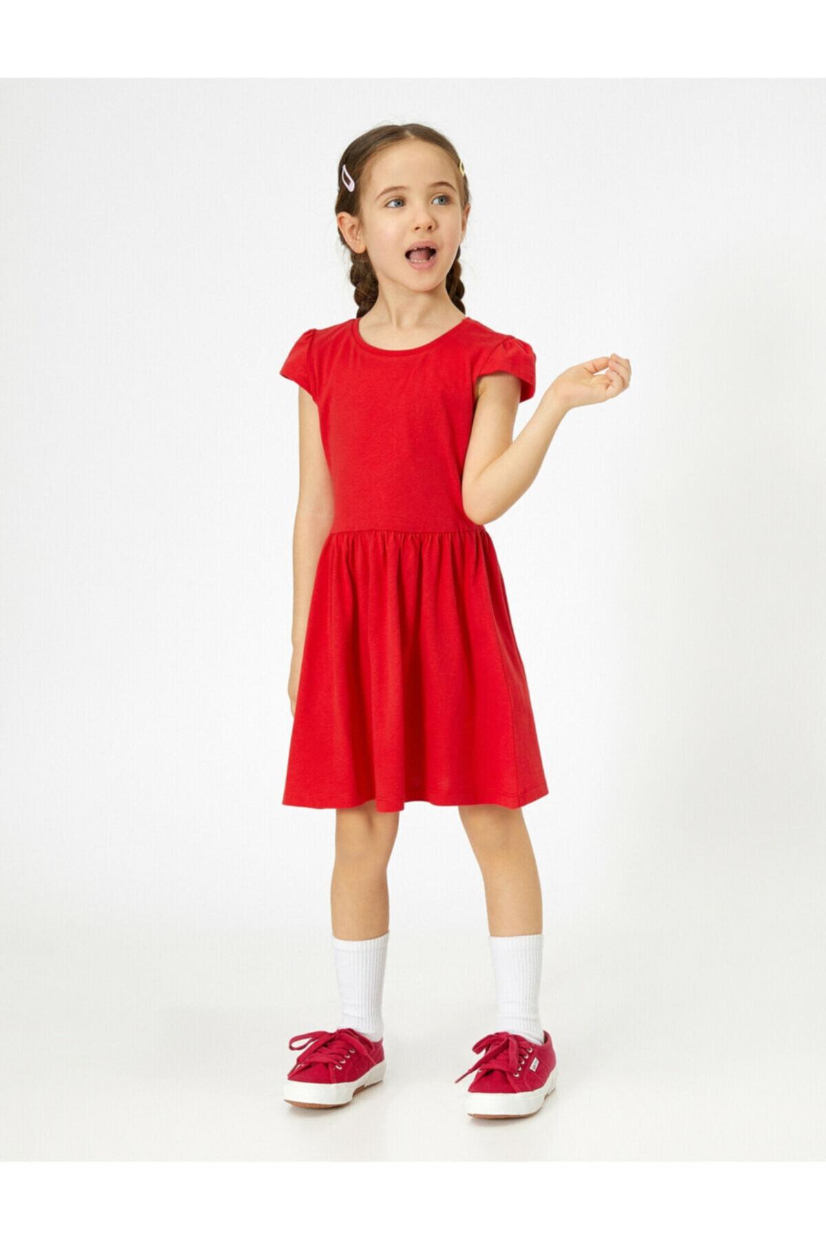 فروش پیراهن دخترانه نخی برند Koton Kids رنگ قرمز ty36403610