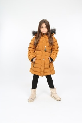 خرید کاپشن دخترانه شیک برند B&T رنگ زرد ty71996796