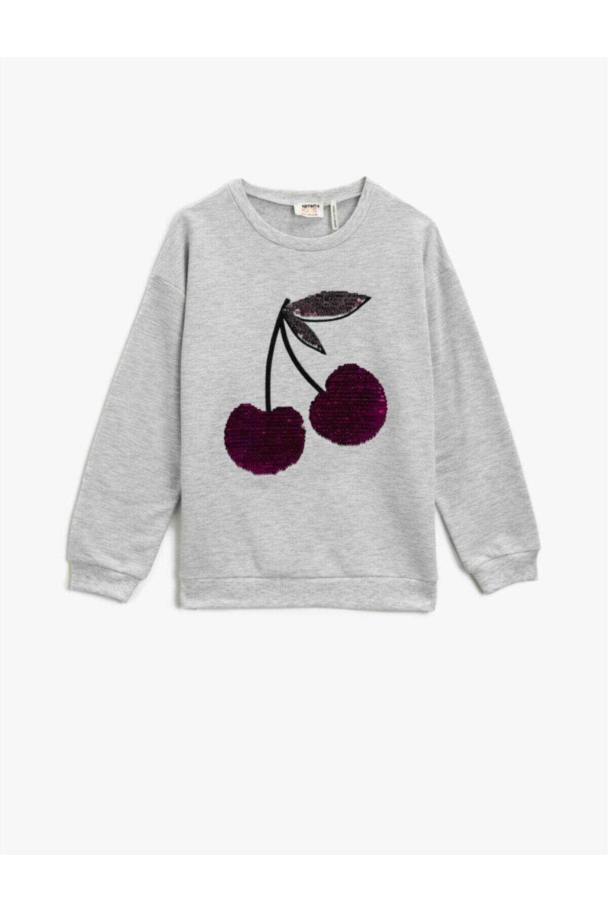 خرید انلاین سویشرت دخترانه طرح دار برند Koton Kids رنگ نقره ای کد ty73274880