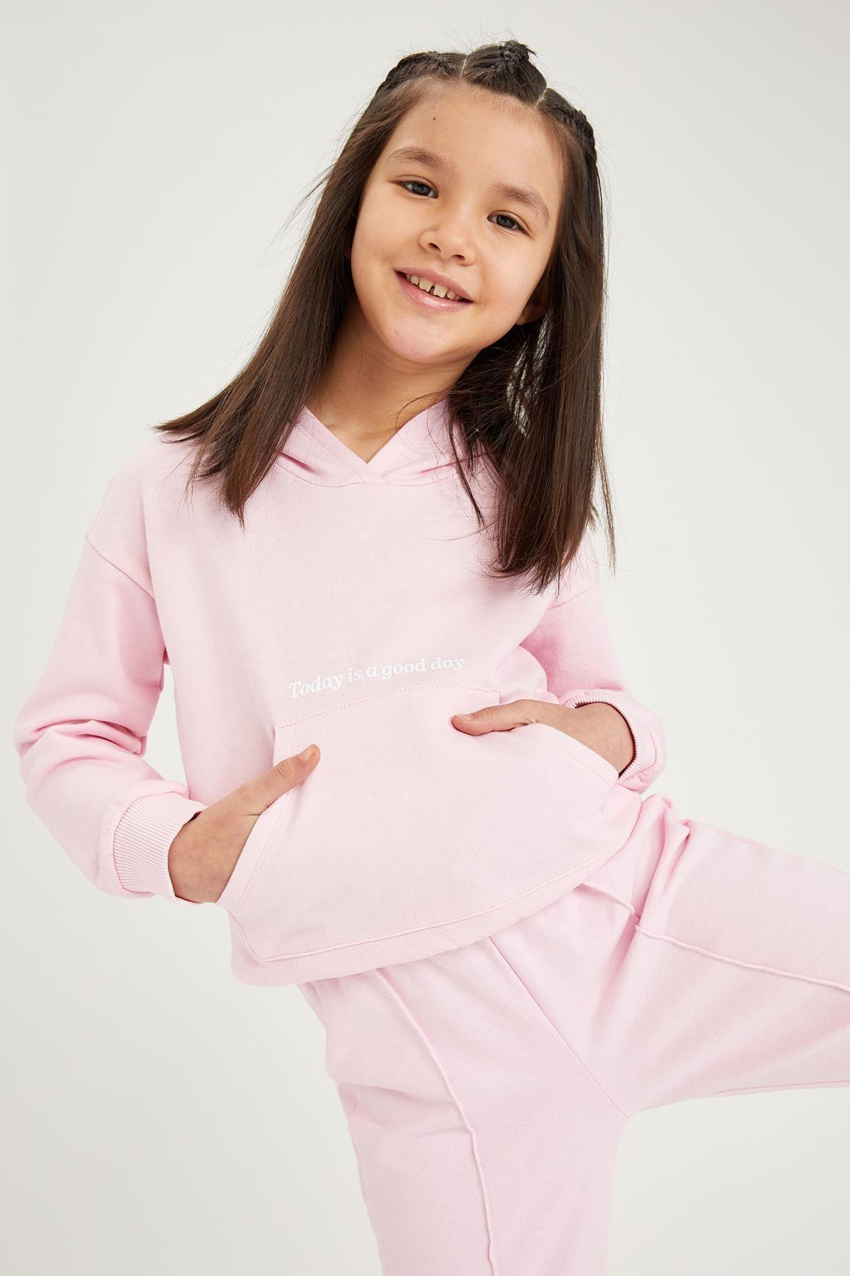 خرید انلاین سویشرت طرح دار برند دفاکتو رنگ صورتی ty75520757