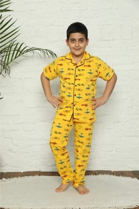 خرید پستی ست راحتی دخترانه پارچه نخی برند PİJAKİDS رنگ زرد ty95216578