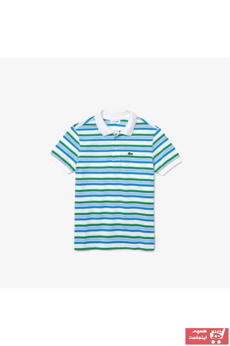 پولو شرت بچه گانه دخترانه ارزان پنبه برند لاگوست رنگ فیروزه ای ty98114401