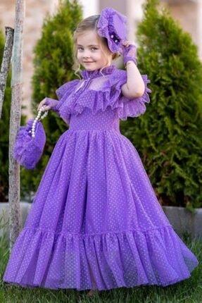 لباس مجلسی دخترانه جدید برند Riccotarz رنگ بنفش کد ty120218012