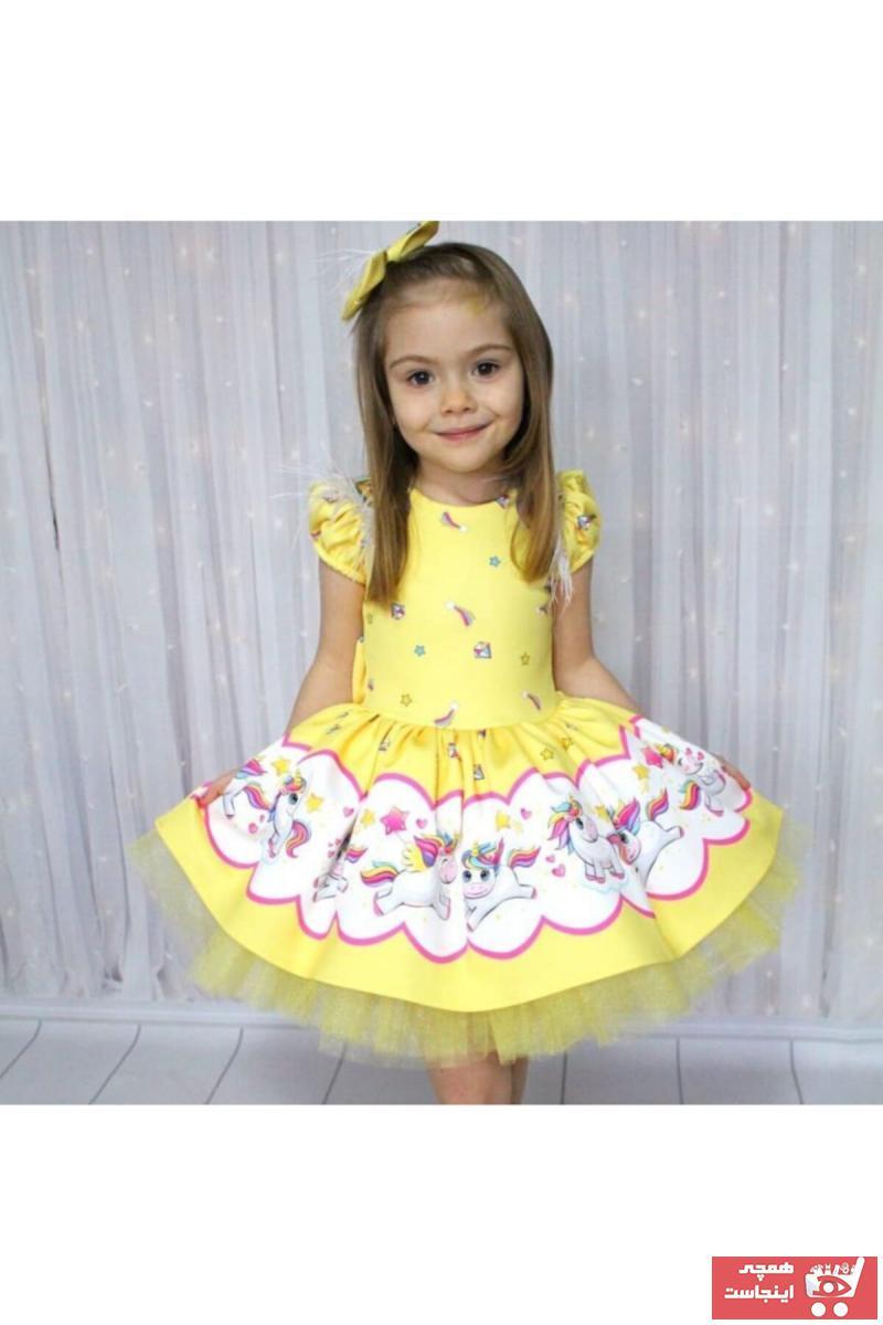 لباس مجلسی دخترانه مارک دار برند Riccotarz رنگ زرد ty35644114